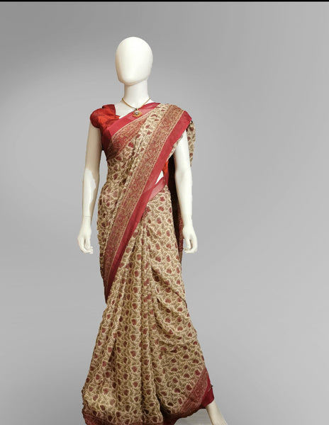 Saree in Pastel Red and Gold in Traditional Floral Print - IFX