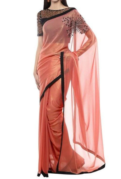 Rose Dust Georgette Saree With Pallu Butterfly. - Saree Safari, Buy