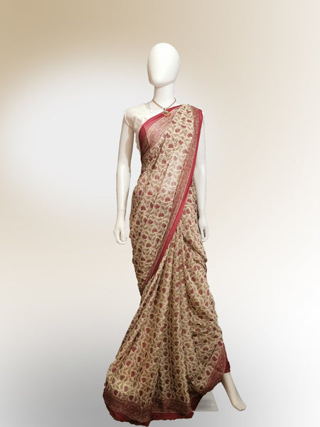 Saree in Pastel Red and Gold in Traditional Floral Print