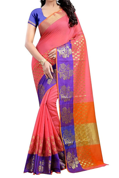 Pink Color Poly Cotton Woven Work Saree With Unstitched Blouse Piece - Saree Safari, Buy