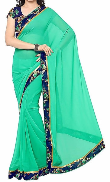 Saara Green Printed Solid Saree With Unstitched Blouse - Saree Safari, Buy