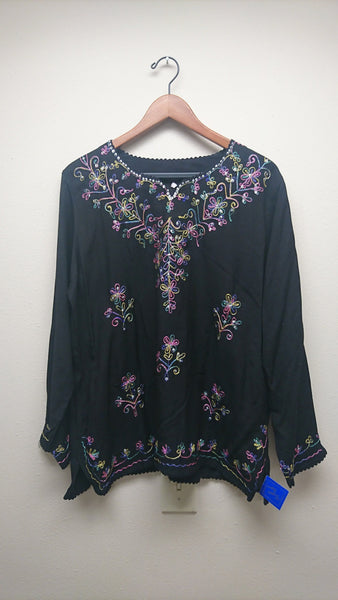Kurti Blouse Top SALE- Bright embroidered in black - Saree Safari, Buy