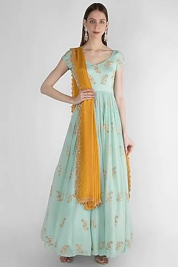 Anarkali in Sky Blue with Gold Embroidery - IFX