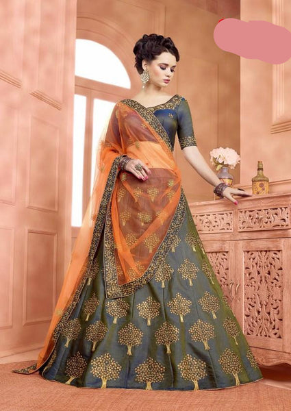 party/wedding wear dark grey silk lehnga - Saree Safari, Buy