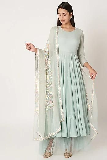 Anarkali in Soft Green with Organza base - IFX