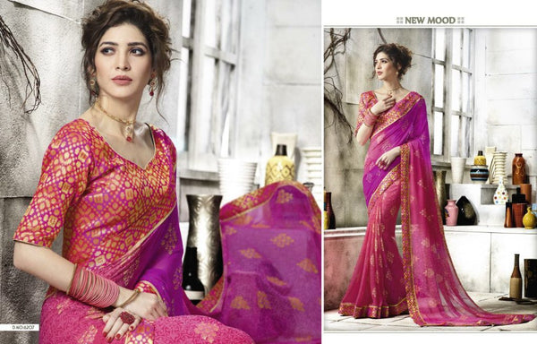 Dark pink with golden work chiffon saree - Saree Safari, Buy
