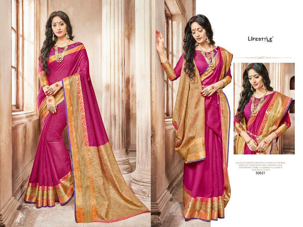 Casual wear cotton silk saree with red and orange border - Saree Safari, Buy