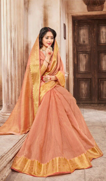 Casual wear cotton silk saree with peach and gold border - Saree Safari, Buy