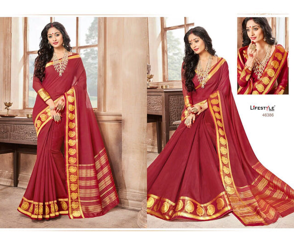 Casual wear cotton silk saree with red and gold border - Saree Safari, Buy