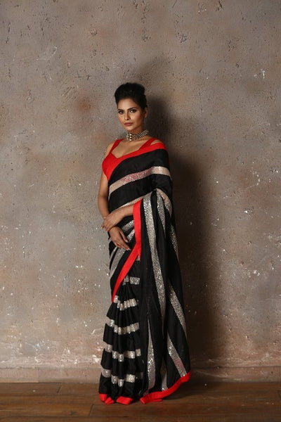 Saree in Black and White Horizontal Stripe Featured in Silk and Net