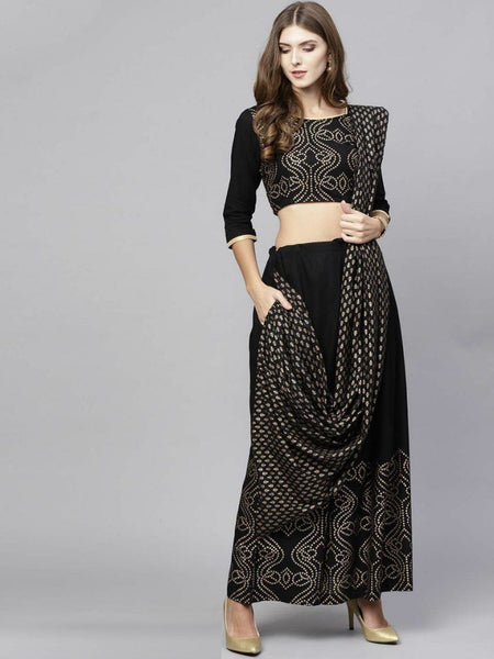 Lehenga in black with gold foil embroidery work - IFX
