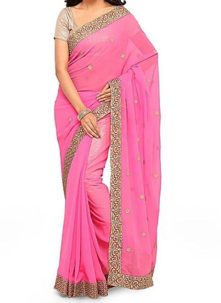 Pink Georgette Embellished Designer Style Saree - Saree Safari, Buy