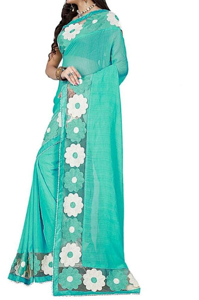 Sky Blue Chiffon Aari Embroidered Saree - Saree Safari, Buy
