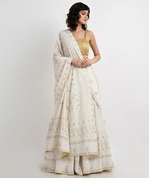 Ivory Chikankari & Gota Patti Hand Embroidered Lehenga Outfit - Saree Safari, Buy