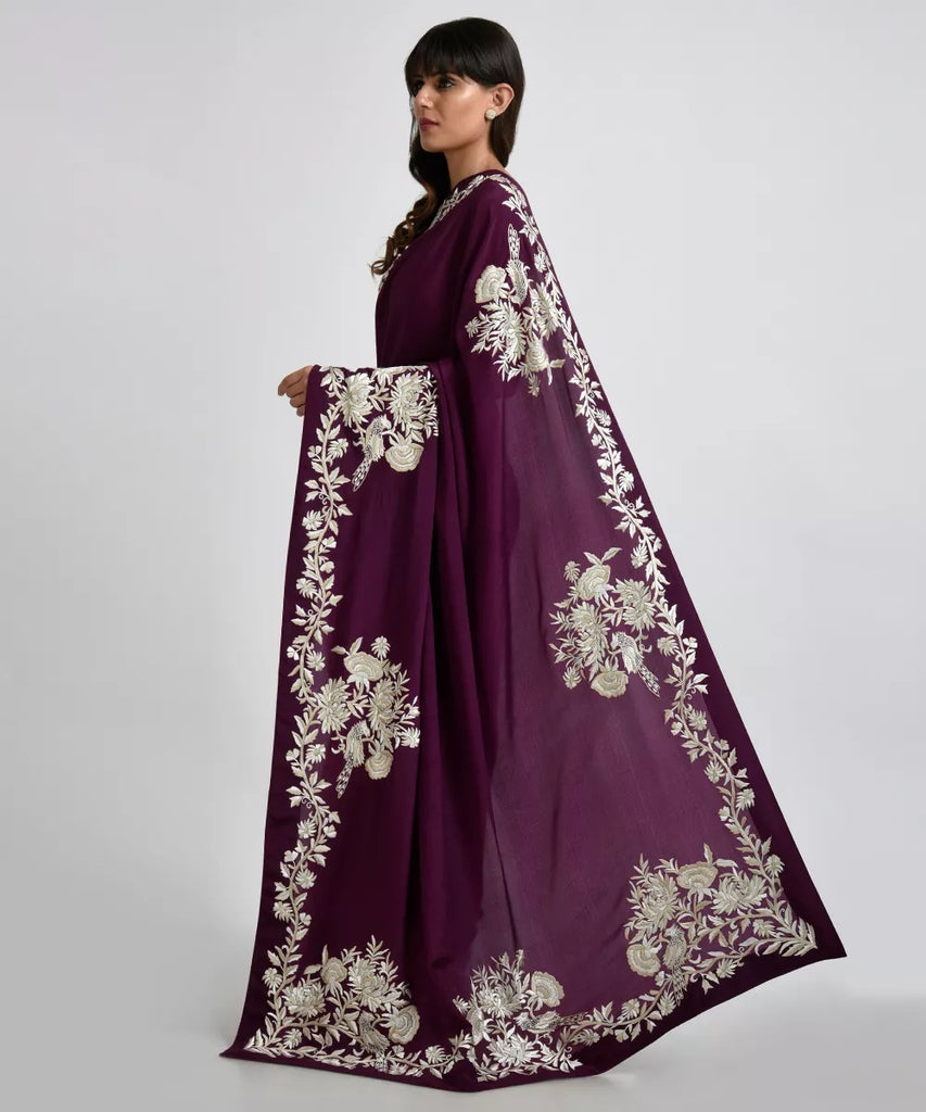 Deep Wine Parsi Gara Hand Embroidered Pure Crepe Saree - Saree Safari, Buy