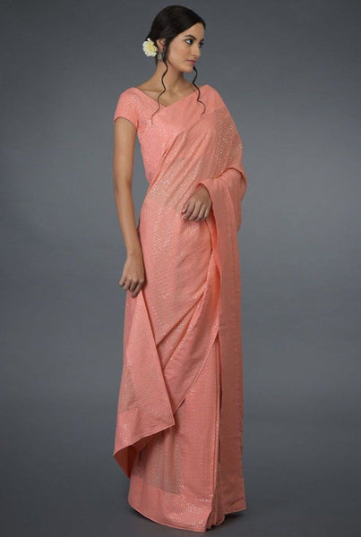 Saree in Peach Rose Pink Featured in Crepe