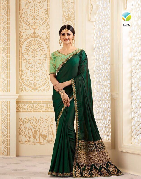 Blended green traditional saree - Saree Safari, Buy