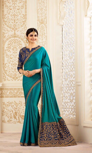Blended blue traditional saree - Saree Safari, Buy