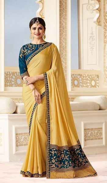 Butter gold and blue traditional saree - Saree Safari, Buy