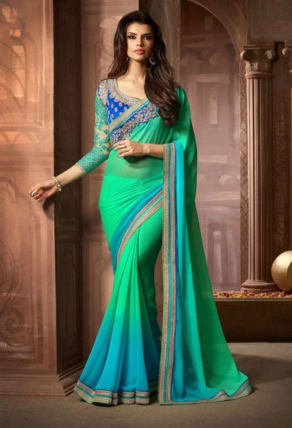 Sky blue georgette party wear saree - Saree Safari, Buy