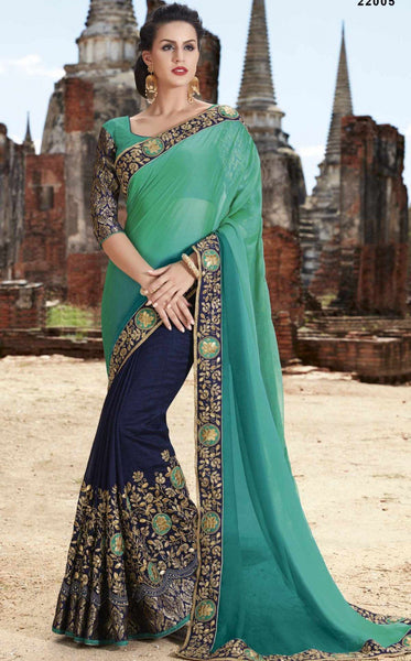 Dark nevy and teal half-half chiffon saree - Saree Safari, Buy