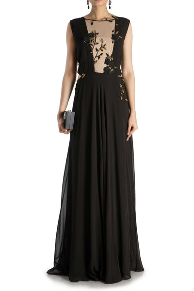 BLACK GOWN WITH DEEP NECK CUTLINE - Saree Safari, Buy