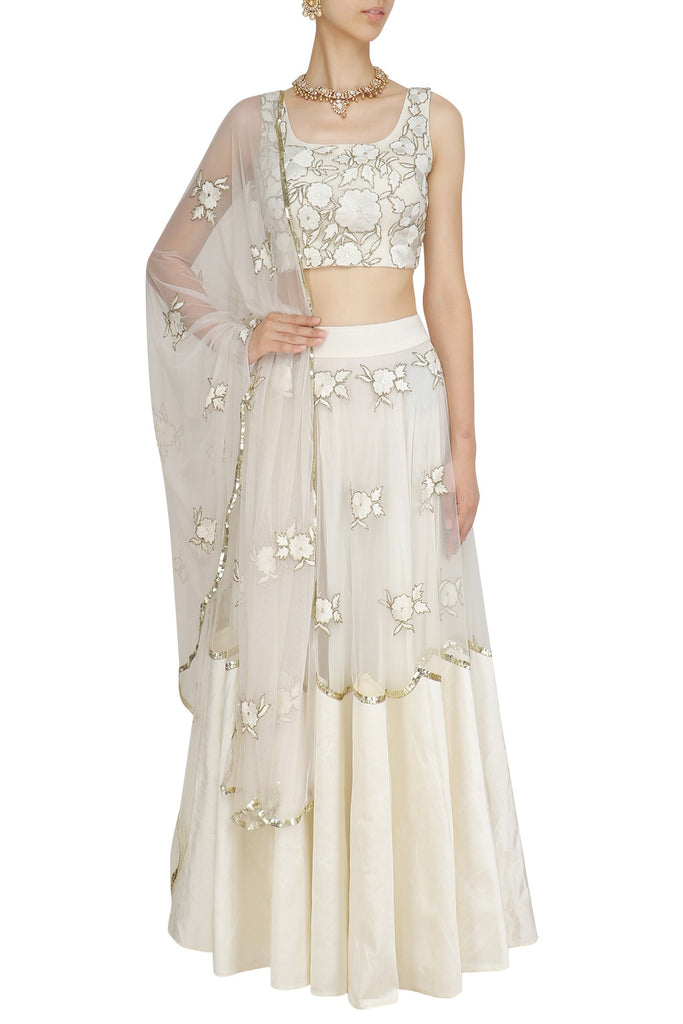 61f2a93bf Products; Off White Floral Embroidered Blouse and Lehenga Skirt Set.  Previous. Next. Previous