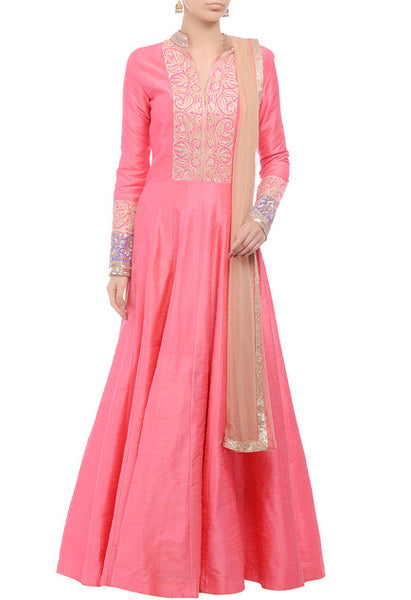 MANISH MALHOTRA Pink tilla-embroidered anarkali set - Saree Safari, Buy