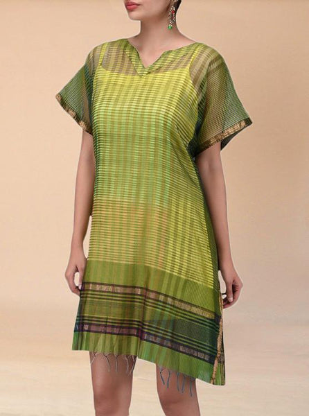 Green Cotton Silk Tunic Dress - Saree Safari, Buy