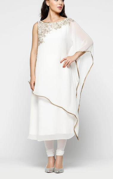White Kaftan Suit With Churidar - Saree Safari, Buy