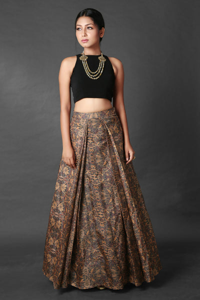 VERSATILE BLACK TOP LEHENGA WITH CONTEMPORARY BLEND SKIRT - Saree Safari, Buy