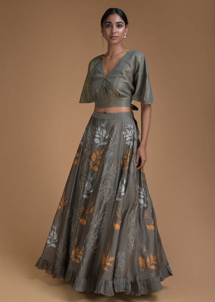 Lehenga In Grey with Crop Top in Foil Printed Leaf Motifs - IFX