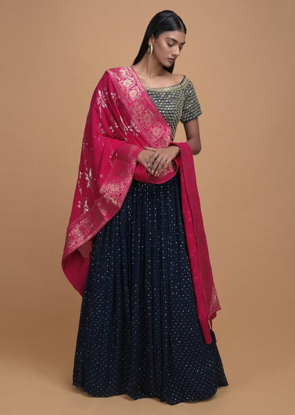 Lehenga In Midnight Blue Georgette With Sequins - IFX