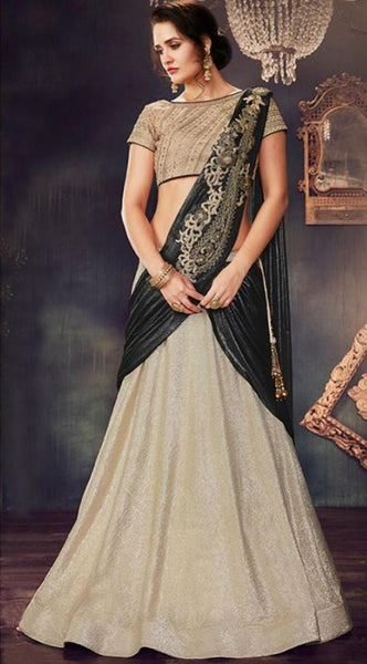 party/wedding wear beige and greenish gold lehnga - Saree Safari, Buy