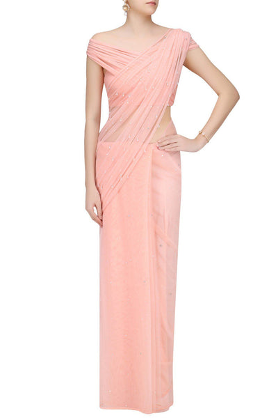 Blush Net Sari with Sprinkle Crystal Drop Embroidery - Saree Safari, Buy