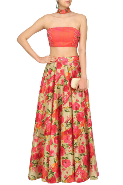 Coral Floral Lehenga Set - Saree Safari, Buy