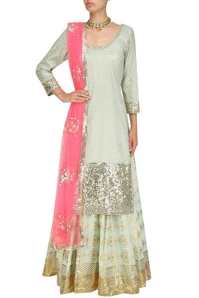 Mint Green Sequins Embroidered Kurta and Skirt Set - Saree Safari, Buy