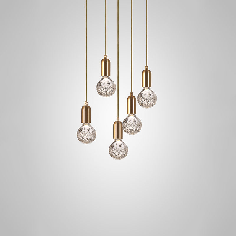 Crystal Bulb Chandelier 5 Piece