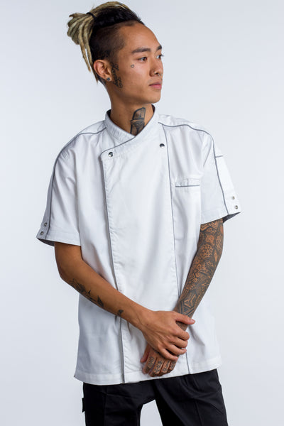 Chef jacket white with grey trim and coolvent Bryan - Ace Chef Apparels