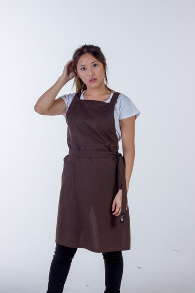 Orthodox Cross Over Apron Chocolate Brown