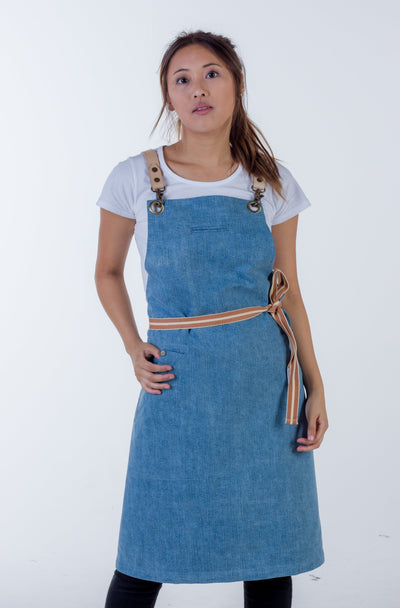 Light Blue Denim apron Natural