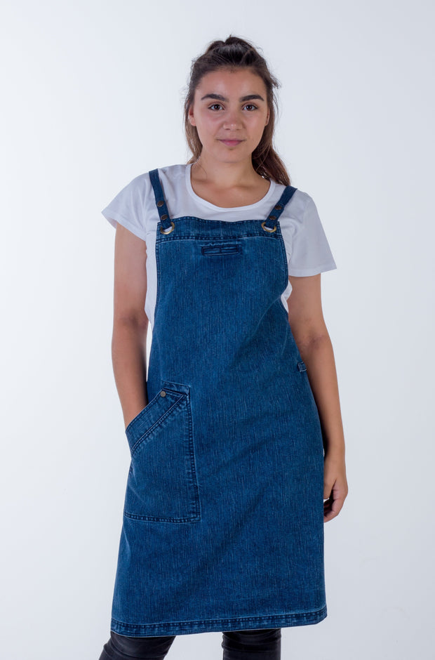 Mid Blue denim Apron With Default Straps