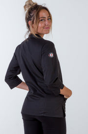 Ladies 3/4 Sleeve Black Chef Jacket