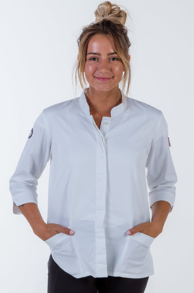 women chef jacket white 3/4 Sleeve
