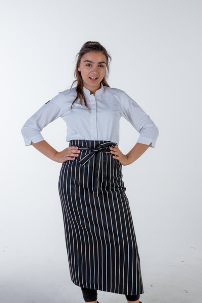 Black white striped waist apron