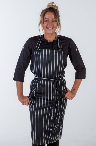 striped black/white bib Chef Aprons medium size with pocket
