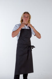 BLACK BIB APRON LARGE SIZE WITH POCKET - ROSS