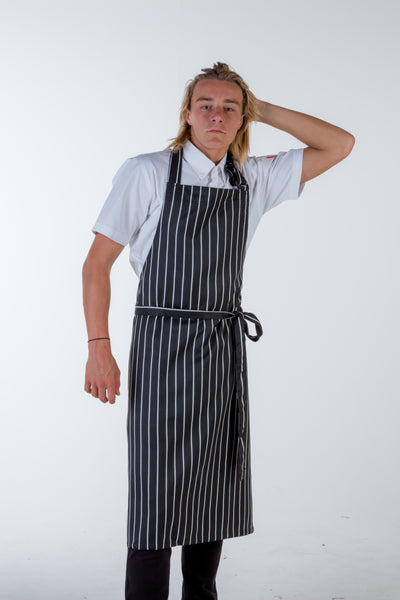 striped black/white bib Chef Aprons Large size no pocket