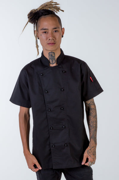 Chef Jacket black short sleeves generic