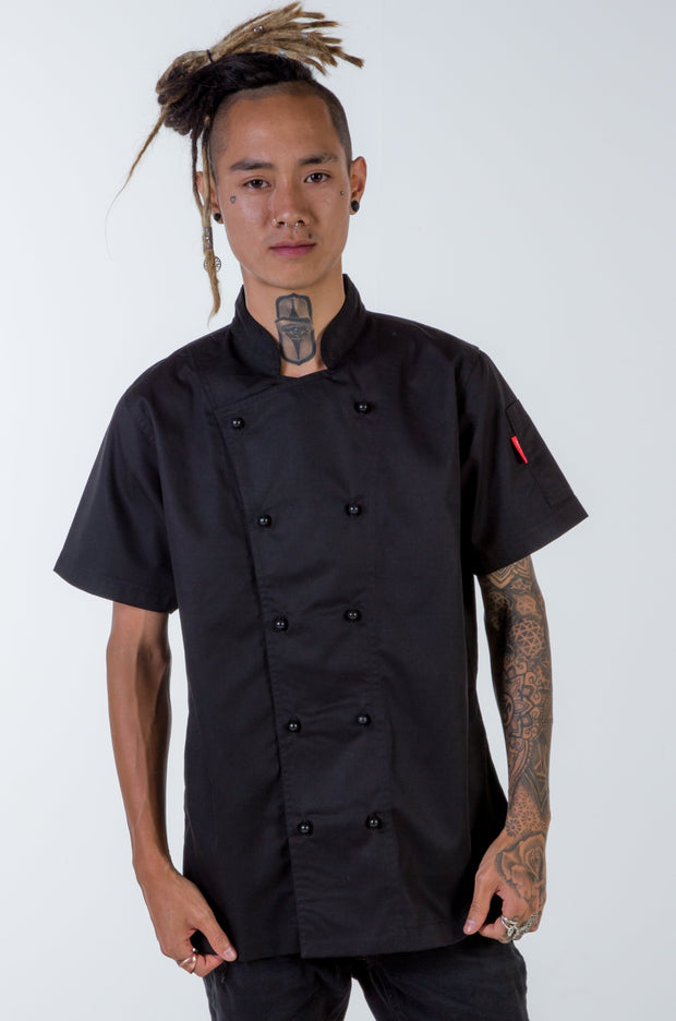 Generic Short Sleeves Black Chef Jacket